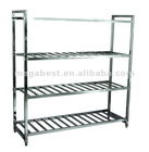 Stainless steel knock-down 4 tier display rack, shelf