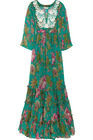 embroidered printed silk-chiffon maxi dress HGS746