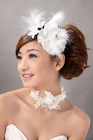 Perfect Bridal Pure White with feathers Flower Bridal hairpin for girls