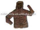 LADIES BROWN HOODY JACKET ,50D ,FULL-DULL ,AC COATING +180 G ANTI PILLING FLEECE