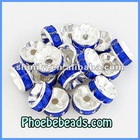 Wholesale 8mm Jewelry Spacer Findings Royal Blue Acryl Crystal Rhinestone Pave Metal Beads For Bracelets Earrings RRS-B008A
