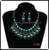 Acrylic Alloy Stone Necklace and Earrings Jewelry Set