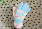 Novelty design knit microfibre,feather yarn solid magic gloves