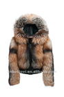 sheep skin leather and fox fur jacket