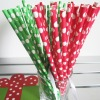 Red and Green polka dots paper drinking straws for Christmas party
