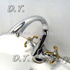SYY-F0230 Classic with dual handles Chrome and gold bathroom Basin Faucet Mixer Tap