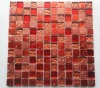 Red foil glass mosaic mixed with resin mosaic