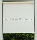 Semi-automatic/spring roller blind in beige color