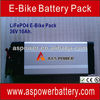 Factory provide 36V 10Ah Electric Bike Li-ion 18650 Battery Pack with Rear Rack