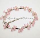 Rose quartz gravel stone chain anklet