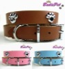 Top Quality 100% Real Cow Leather Paw Dog Collar