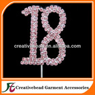 pink number rhinestone cake topper