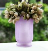 12BH60003 Cracked finish glass vase with purple color