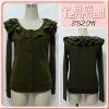 Ladies` Newest Fashion Falbala Knitted Coat 8520