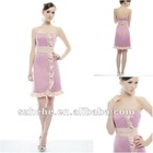 Sexy backless selected satin knee length short bridesmaid dress two color