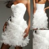 2013 new sweetheart strapless ruffle white ostrich feather short custom-made cocktail dress CWFac4953