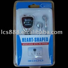 3in1 heart-shaped earphone with FM radio for PSP3000