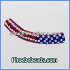 Wholesale Crystal Rhinestone Shamballa Tube Beads USA Flag Design Accessories For DIY Bracelet Clay Alloy CTB-029