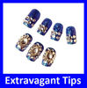 Royal Blue Extravagant Imitated Shine Nail Tips with Glass Stone