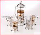 four cups glass tea pot and maker set