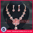 WNE001 In stock fashion red sweetheart set connected earring necklace
