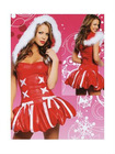 White And Red Ladies Velvet Christmas Holiday Costume