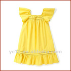 Bright Yelllow Little Girls Flutter Sleeve Cotton Poplin Dress
