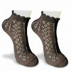 women's rumi socks with pointelle pattern with bow tie on the welt