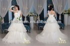 Best Seller in Zhenzhen One-shoulder Layers Pleats Flowers Pearls Bow Back Elegant Tulle Bridal Dress Ball Gown WD-B136