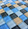 Black White Blue Swimming Crystal Mosaic Tile
