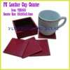 Edge Sealed Red Stitched Coaster Set with Holder