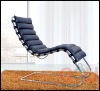 Mies van der Rohe era Chaise Longue, stainless steel frame, leather chaise lounge