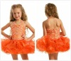 Sweet Elegant Halter Beads Working Bodice Mini Flower Girl Dress
