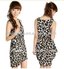 Leopard Printed Sleeveless Casual Dress HSX018