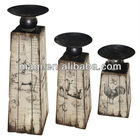 Wooden Set Of 3 Antique Animal Decorative Candle Holder