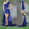 Graceful one shoulder with removable train satin evening dress