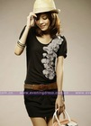 Short Sleeves Cotton Knitting New Fashion Lady Dress 2011 PF005
