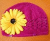 Princess crochet hat with flower