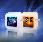 Plastic cube (80*80*80mm)digital clock with calendar and 7 color change in cycle