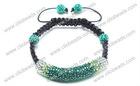 Fashion Crystal Shamballa Tube Bracelet With Beads