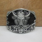 Fashion bull belt buckle with pewter finish plating FP-03016 mixed order available