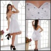 K1014 White Elegant Sweetheart Beaded Organza A Line Knee Length Cocktail Dresses 2013 Hot Sales!