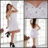 K1014 White Elegant Sweetheart Beaded Organza A Line Knee Length Cocktail Dresses 2013 Hot Sales!