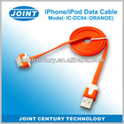 Colorful flat usb sync charging cable for apple iphone, usb to 30pin