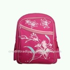 Promotional flower printed pink school bag for teenager girl