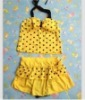 Fashion Dotted Bowknot Halter Swimwear Yellow QM12061201