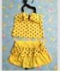 Fashion Dotted Bowknot Halter Swimwear Yellow QM12061201