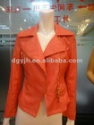 New Design Woman's Orange PU Leather Jacket
