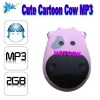 Mini Cute Cartoon Cow MP3 Player with LED Indication Screen and Fashional Design
