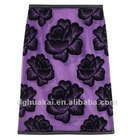 fashion style short Black floral flocking tulie dress ladies purple skirt HK-090703